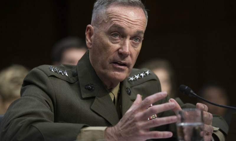 """Marine Corps Gen Joseph F. Dunford Jr, who currently heads the US Marine Corps, told his confirmation hearing that Pakistan's cooperation was also important for ensuring a """"peaceful outcome in Afghanistan."""" ─ AP/File"""