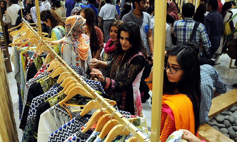 Women are busy in shopping for Eid at a Clifton Shopping Center.— Online