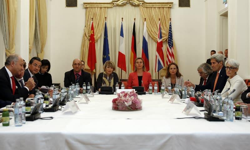Negotiators at a Vienna hotel. ─ AP/File