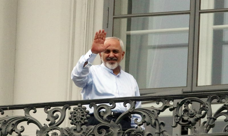 Iranian Foreign Minister Mohammad Javad Zarif on the balcony of the Palais Coburg where closed-door nuclear talks with Iran took place in Vienna on July 13. ─ AP/File