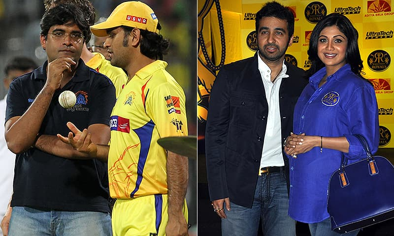 From left to right:Chennai SuperKings (CSK) captain Mahendra Singh Dhoni (R), CSK owner Gurunath Meiyappan. Rajasthan Royals' team owners Raj Kundra (L) and his wife Indian Bollywood actress Shilpa Shetty. — AFP