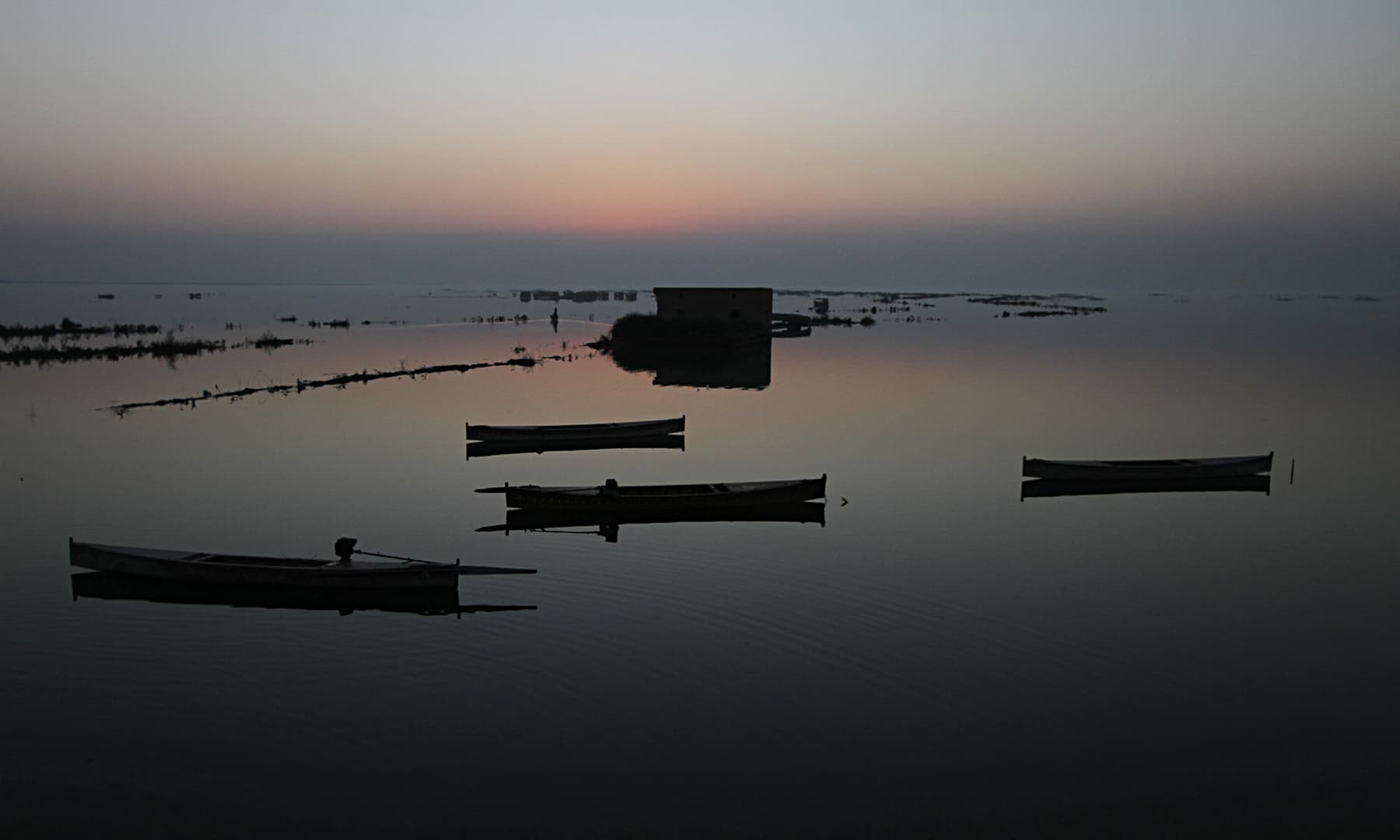 Sunset over Lake Manchar.