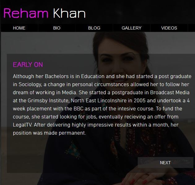 The photo shows a screen capture of Reham Khan's personal website