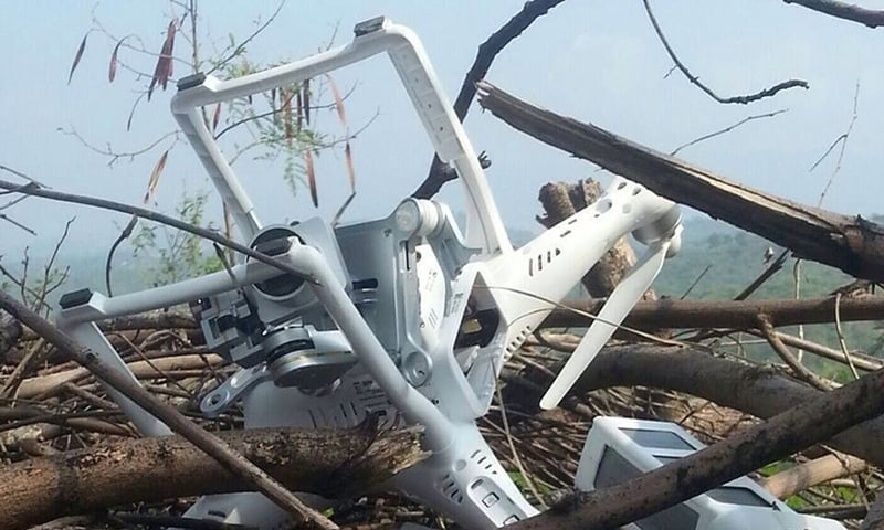 ISPR handout released July 15, 2015 purportedly shows the Indian 'spy drone' shot down by the armed forces.