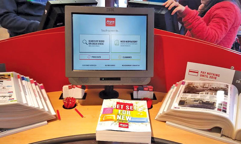 At Argos, customers sift through the catalogues, place their order on a digital display screen, collect their goods from the counter and the purchase is complete.