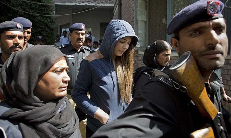 Supermodel Ayyan Ali was asked to furnish two surety bonds of Rs500,000 each to the jail authorities for her release. ─ AP/File