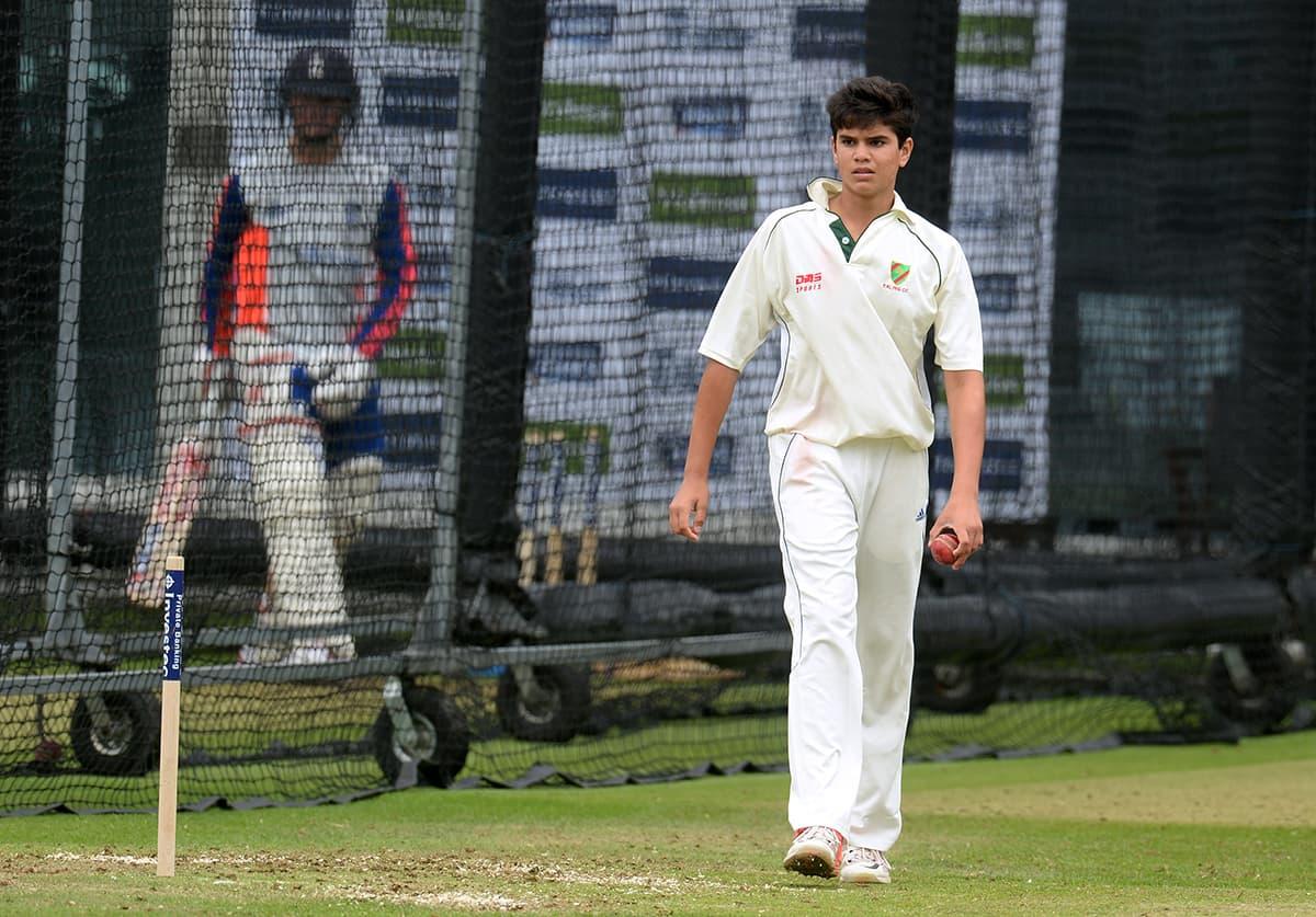 Arjun Tendulkar, son of Sachin Tendulkar during nets at Lord's. — Reuters