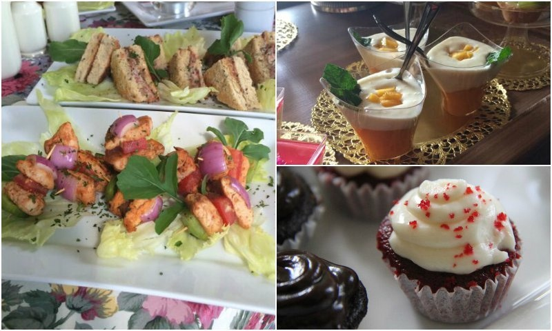 Fuss-free food like marinated chicken on skewers (L) or mini cupcakes (bottom right) are always a good idea