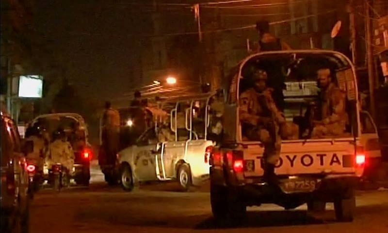 A contingent of Rangers paramilitary force raided Nine Zero on early Friday morning. —DawnNews Screengrab