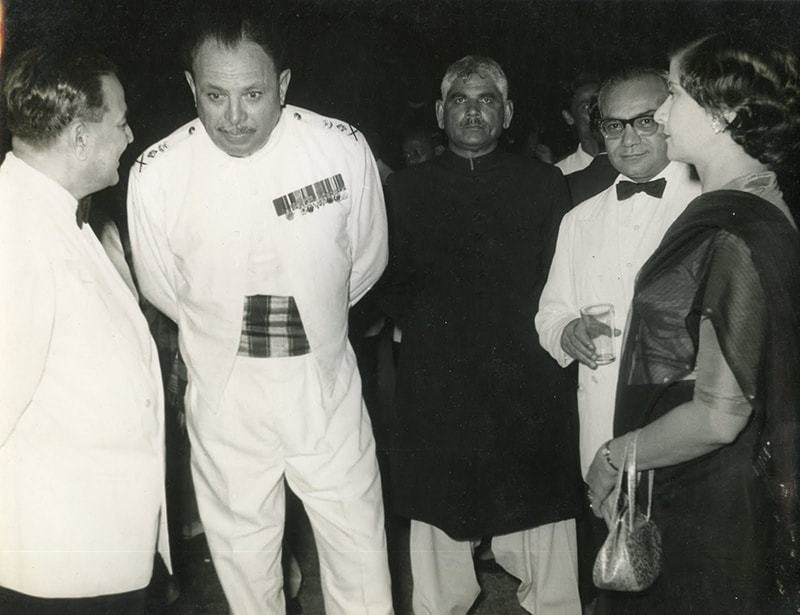This 1958 photograph shows Huseyn Shaheed Suhrawardy, Ayub Khan and Mr and Mrs. S.N. Bakar. —Creative Commons.