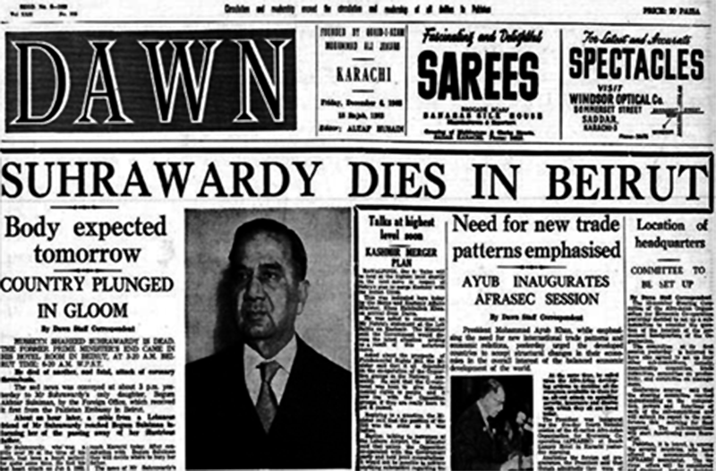 Dawn carries the report of Suhrawardy's death on 6th December 1963.