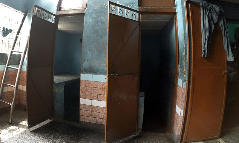 A view of small cubicles which sex workers use at a brothel in New Delhi. ─ AFP