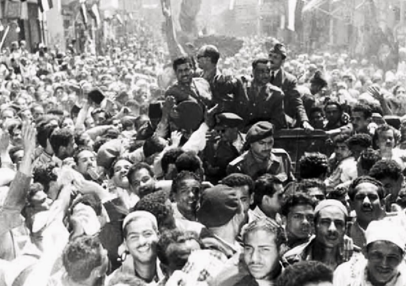 Jubilant crowds in Cairo welcome and hail the leading members the Free Officers Movement soon after they overthrew the Egyptian monarchy.