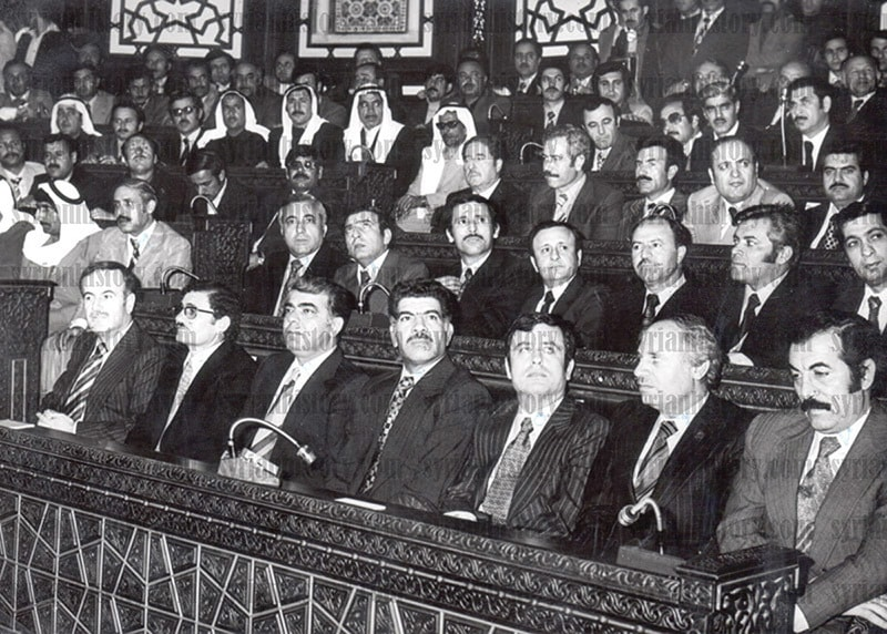 Hafizul Asad (sitting first from left, front row) at his inauguration as Syria's President in 1971.