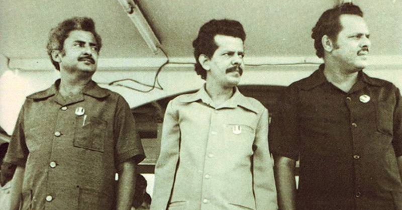 Three leading members of Yemen's NLF: Salim Rubai Ali (who became President of South Yemen), Abdul Fattah Ismail, and Ali al-Nasir Muhammad al-Hasani.