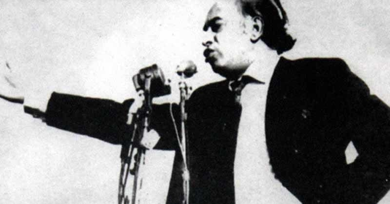 Z.A. Bhutto speaking at a leftist students rally in Karachi in 1969. He became the first  elected Prime Minister in Pakistan and his party, the PPP, won a majority in former West Pakistan on a manifesto promising the imposition of Islamic Socialism.
