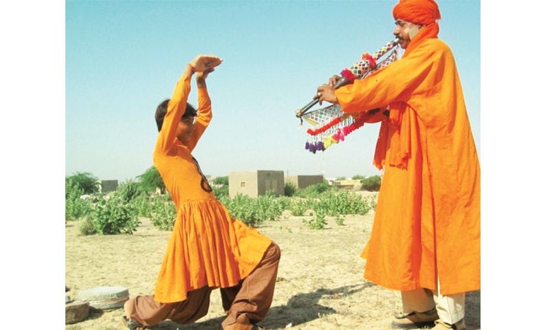 The teenage Jogis of Jogi Daro Colony of Umerkot also learn Nangan Dance to earn their living by performing at Melas and other gatherings
