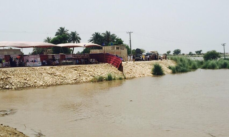 The picture shows a relief camp set up in Rahim Yar Khan for flood affectees. —PM Office