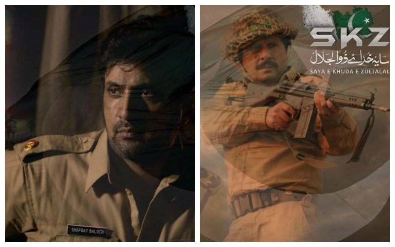 Asad Malik as Major Shafqat Baloch and Arbaaz Khan as Major Shabbir Shareef (Shaheed)— Photo courtesy Saya-e-Khuda-e-Zuljalal's Facebook page