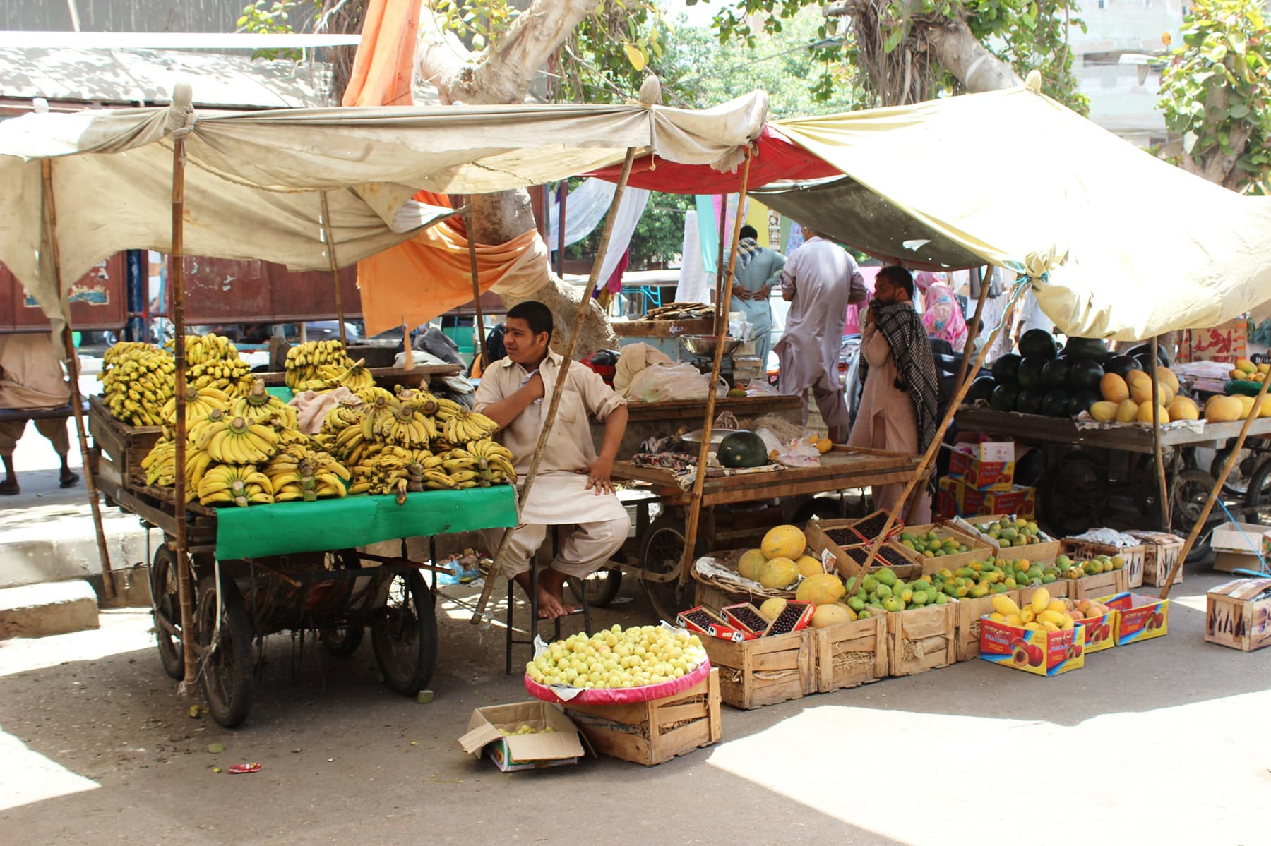 Fruit vendors in the market.