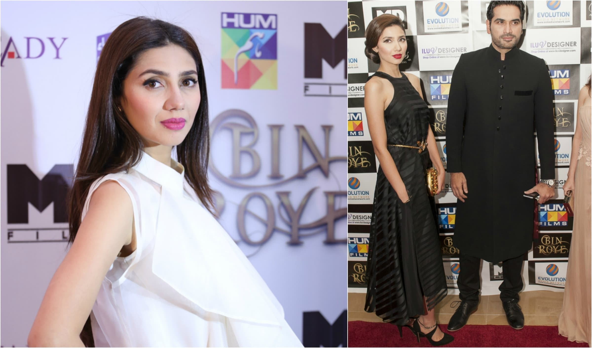 Mahira dressed in Feeha Jamshed (L) and in MUSE (R)