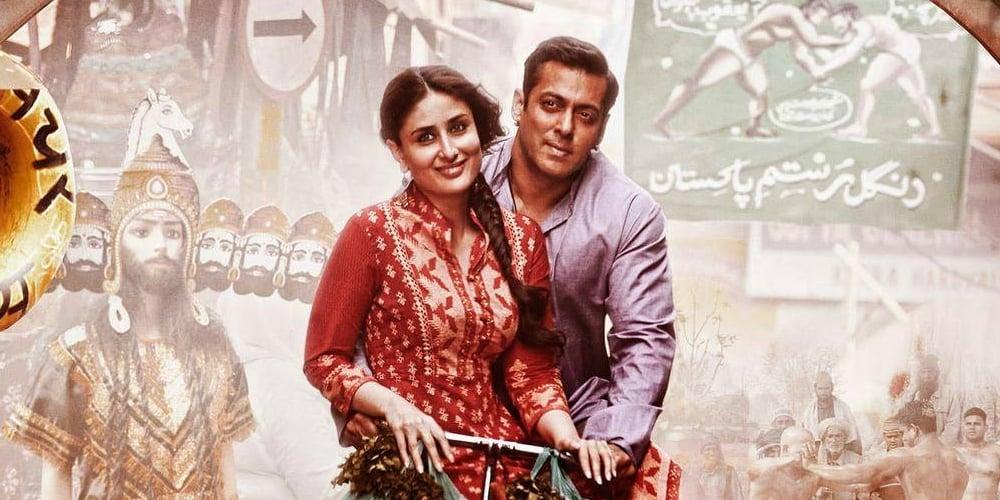 Salman Khan and Kareena Kapoor on Bajrangi Bhaijaan's poster.