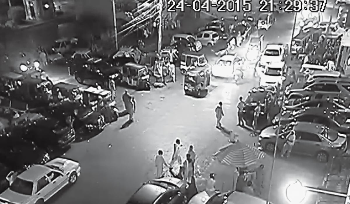 A screen grab from the CCTV footage of National Medical Centre in Defence shows Sabeen Mahmud's car at the entrance of the hospital | Courtesy National Medical Centre