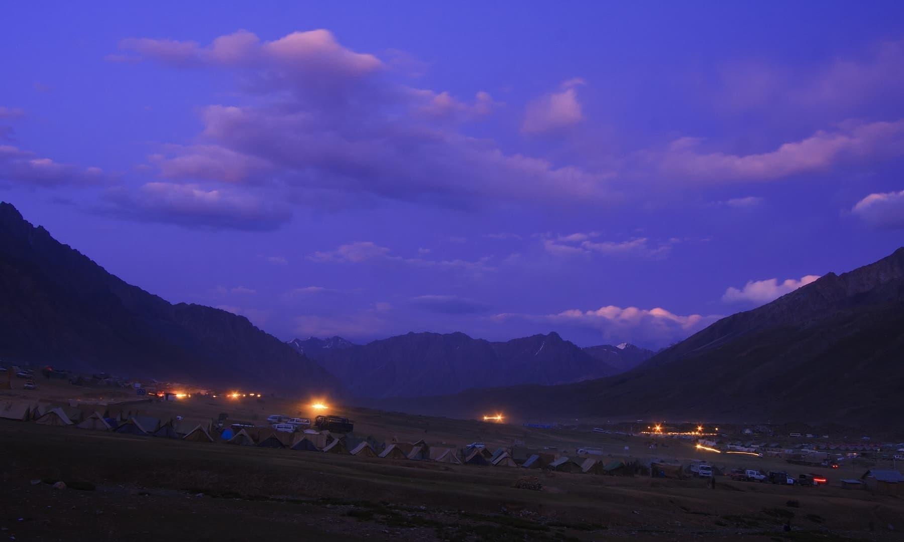 Night at Shandur Polo Ground.