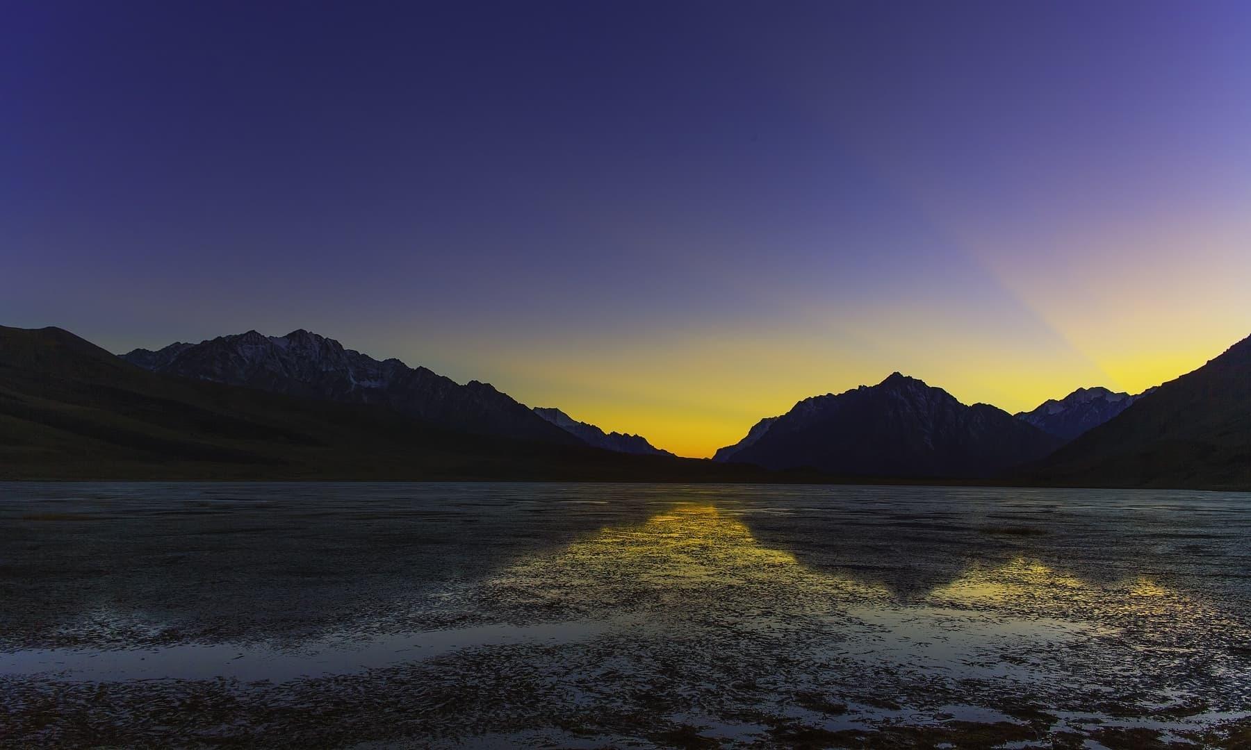 Sunset at Shandur Lake.
