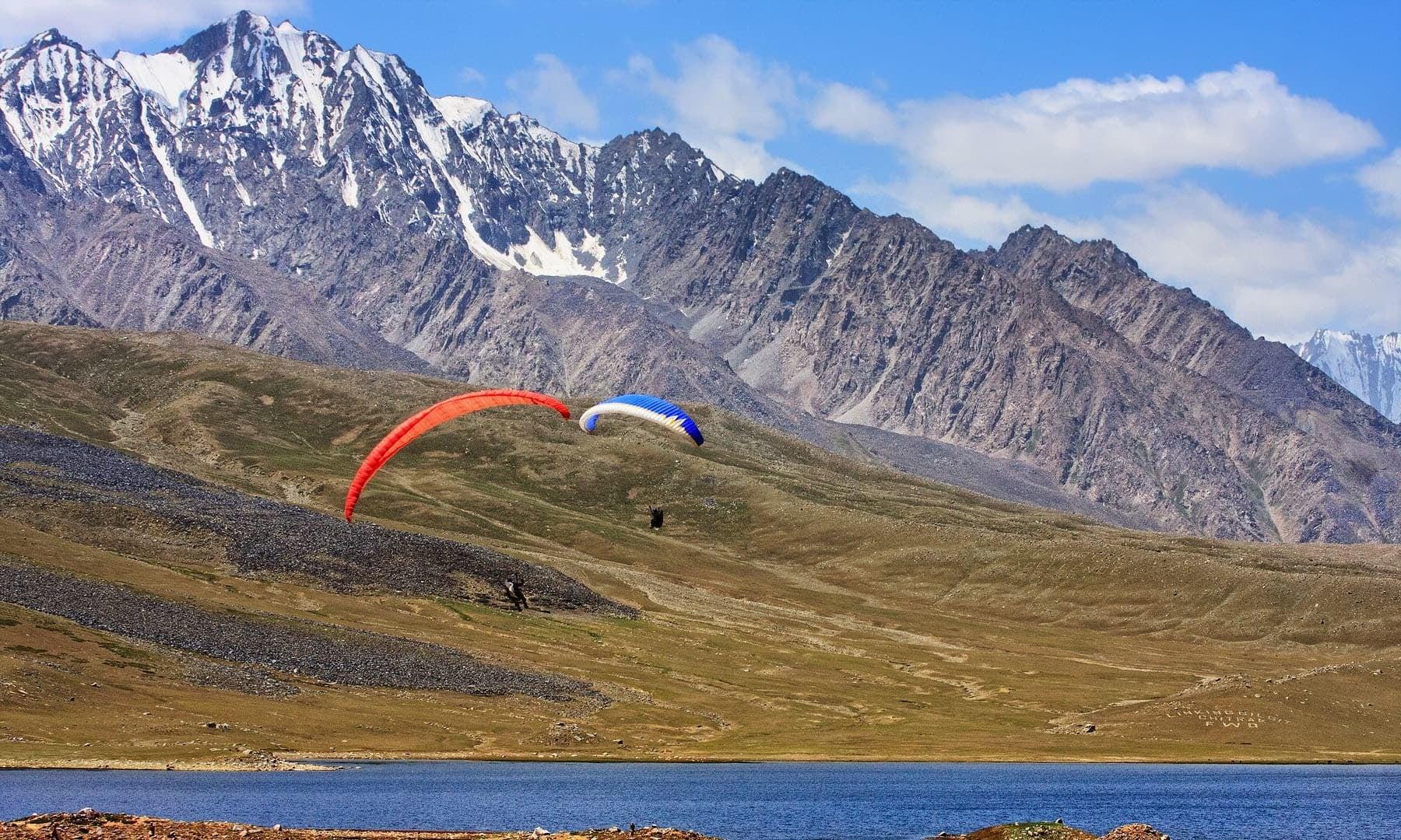 Paragliding at Shandur Lake.