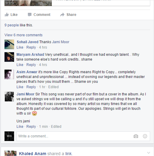 Comments on Khaled Anam's Facebook post about the song — Screengrab