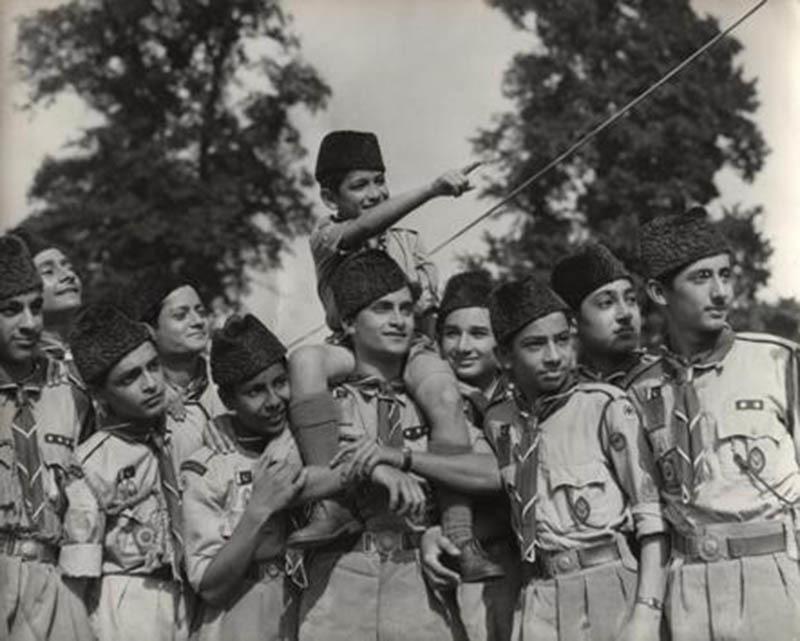 Boy Scouts in 'Jinnah Caps' in Karachi, 1949.