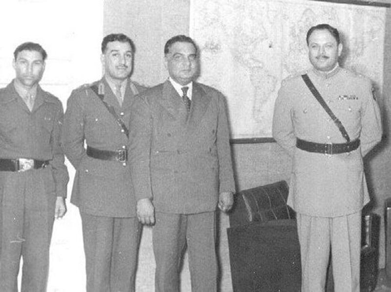 The chiefs of the armed forces with President Iskandar Mirza after the 1958 Martial Law. Mirza was soon removed by Ayub Khan (right) and sent into exile.