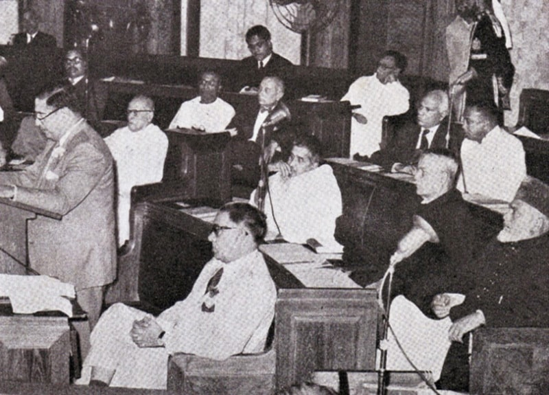 Members of the Constituent Assembly debating the 1956 Constitution.