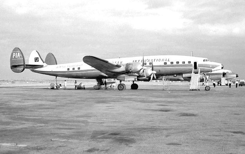 An early fleet of planes of Pakistan International Airlines (PIA) lined up at the Karachi Airport.