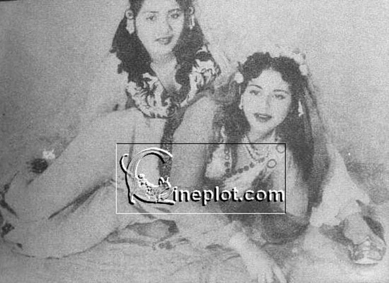 Pakistani film actresses, Sabiha Khanam and Zeenat, doing a photo shoot in 1954.