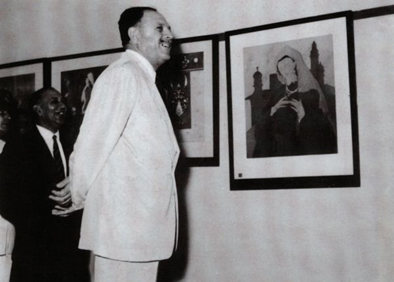 Ayub relaxing at an arts exhibition in Karachi a month after he took power through a military coup in 1958.