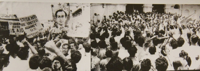 A pro-Bhutto leftist student rally in Karachi in 1968. Such rallies demanded the ouster of the 'pro-US Ayub regime' and the imposition of Socialism.