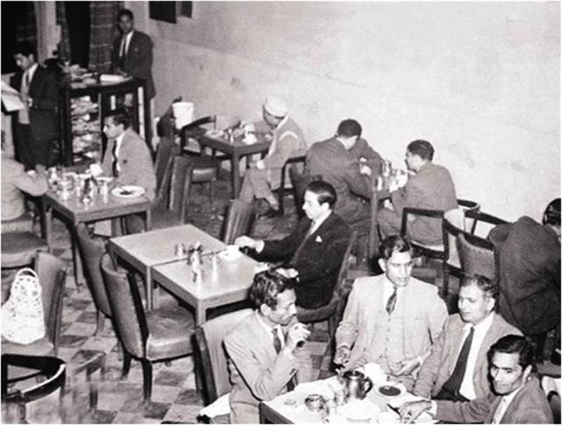 The inside of Lahore's famous 'Pak Tea House' (1963). During the 1950s and 1960s this café was regularly frequented by famous Urdu poets, writers, journalists, political activists and intellectuals.