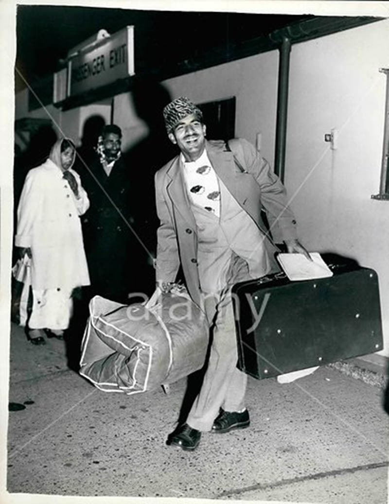 A Pakistani man about to board a flight to London in 1964. At the time Pakistanis got their visas on arrival in most European countries.