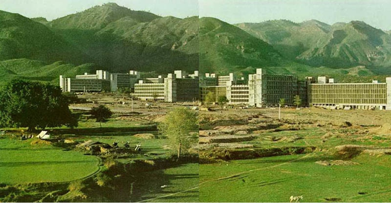 Pakistan's newest city, Islamabad, under construction in 1966. It was made the country's capital in 1967.