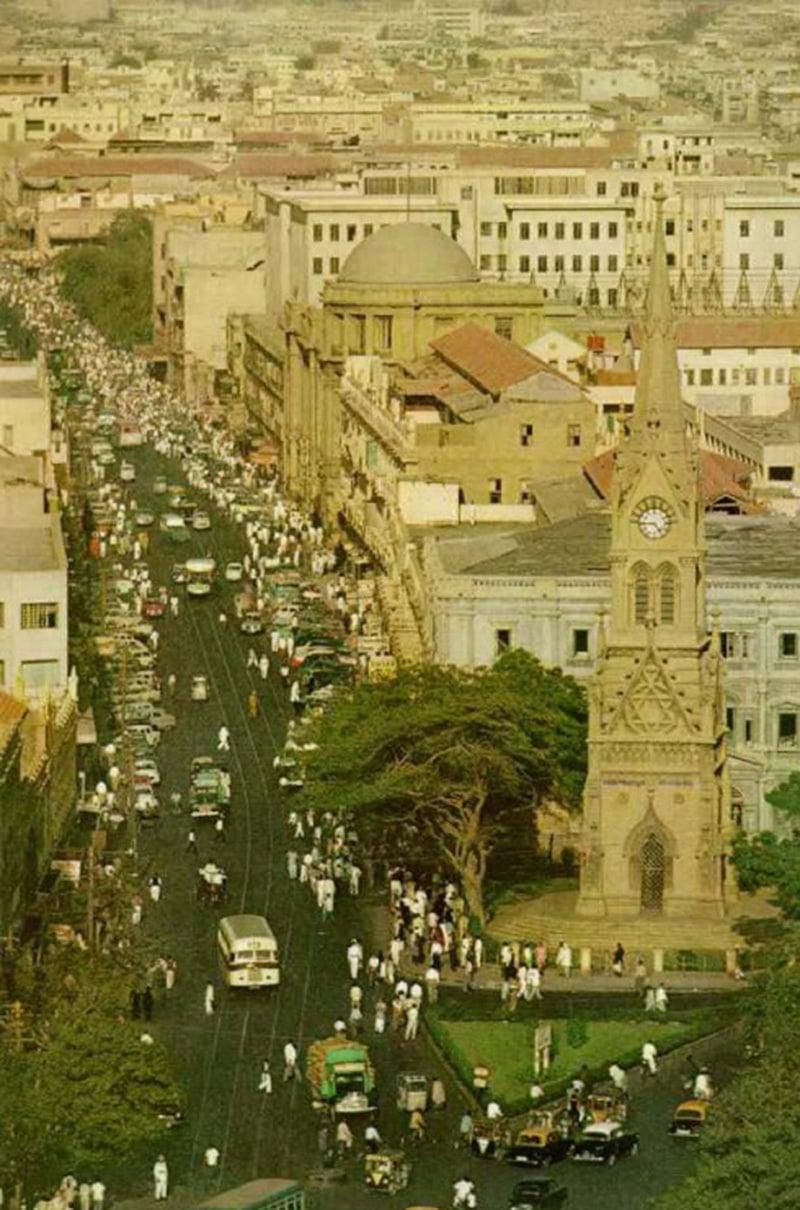 Karachi's busy financial district in 1967.