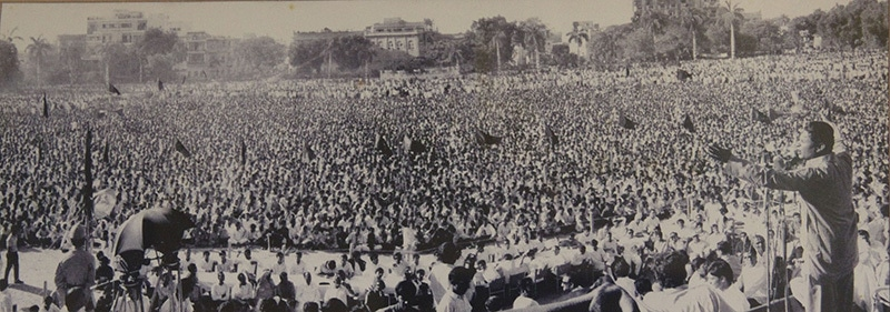 Fiery Marxist leader, Miraj Mohammad Khan, speaking at a PPP rally. He was ousted from the party in 1974.