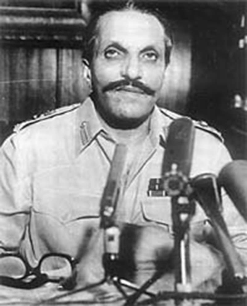 Zia announcing the implosion of Martial Law (July, 1977).