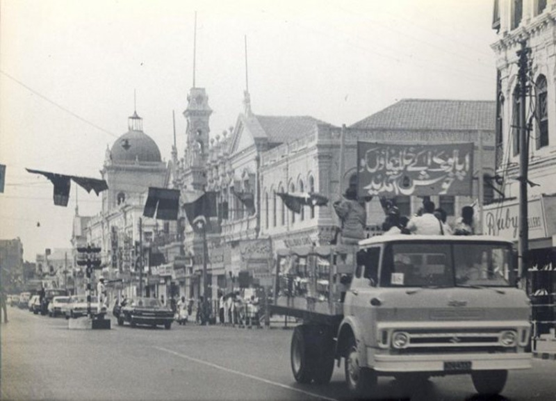 Visiting US astronauts of Apollo 17 being carried in a motorcade across the Saddar area in Karachi in 1973.