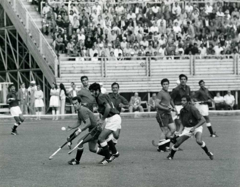 Pakistan playing against Germany in the hockey finals of the 1972 Munich Olympics.