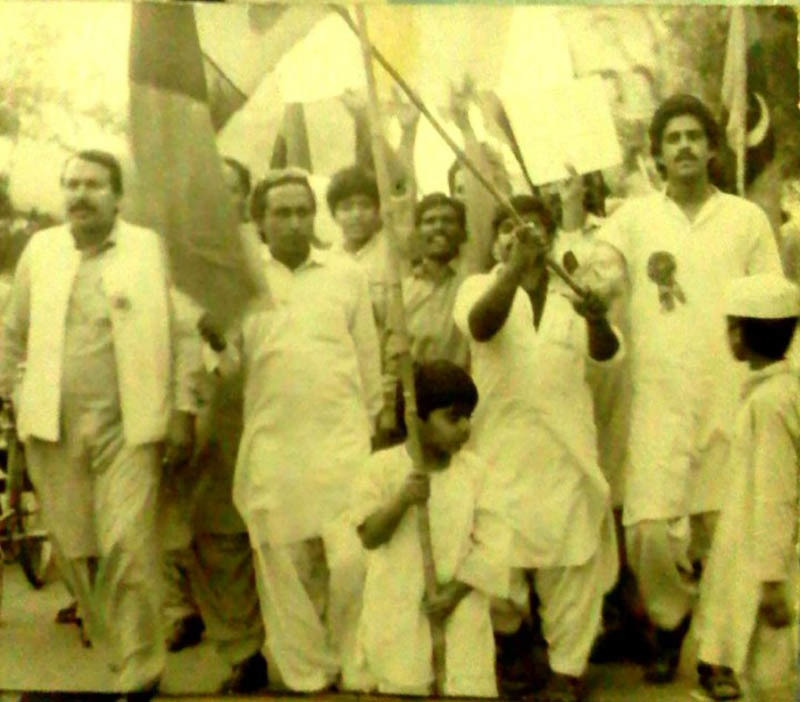 An anti-Zia procession being led by a 5-year-old kid in 1985. The kid, Faraz Wahlah, was actually arrested by the cops and held behind bars for hours!