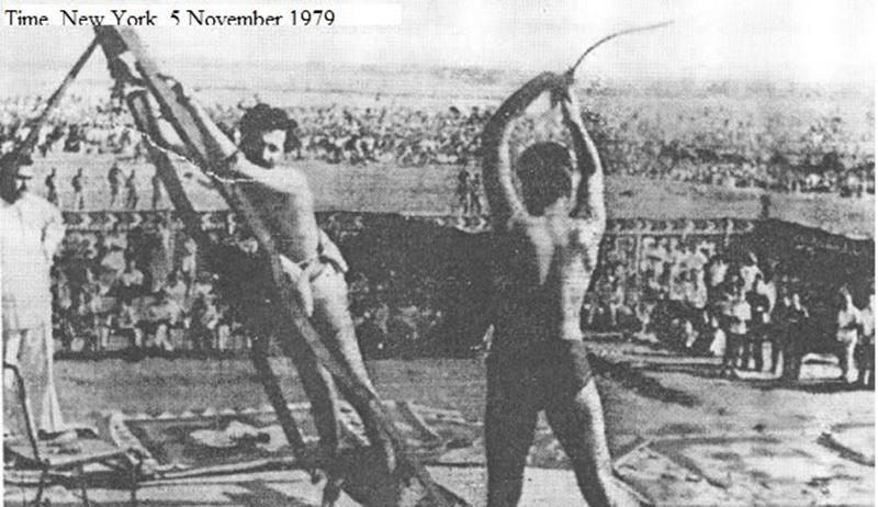 An anti-Zia journalist being publically flogged in Rawalpindi (1979).