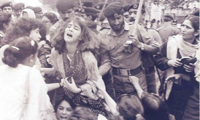 Police attack an anti-Zia rally held by a radical women's organisation in Lahore (1984).