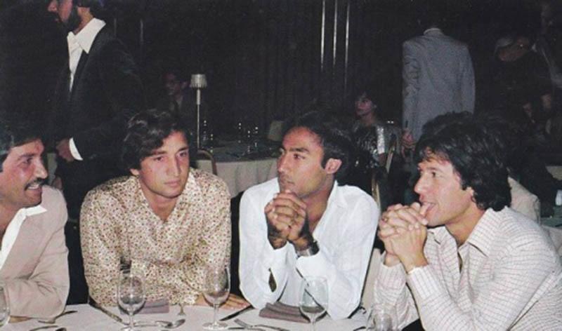 Pakistani cricketers at a party in 1979 (From Left): Sadiq Mohammad, Abdul Qadir, Mudassar Nazar and Imran Khan. Wasim Raja is standing behind Qadir.